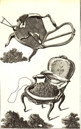 Horsehair on  a chair, old print